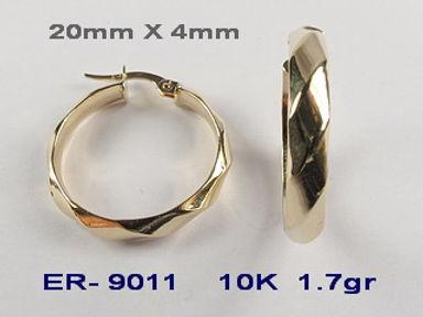 10K Faceted Hoop Earrings