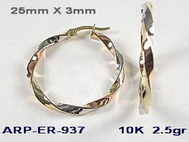 10K Tri Colour Earrings