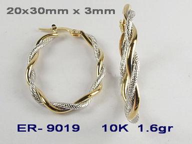 10K 2 Tone Hoop Earrings