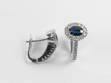 Diamond and Blue Sapphire Earrings
