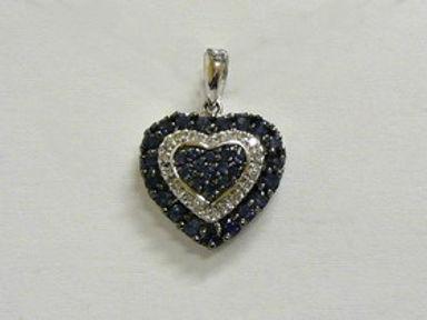 Diamond and Blue Sapphire Pendants