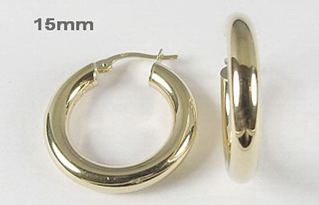 10K 4mm Polished Hoop Earrings
