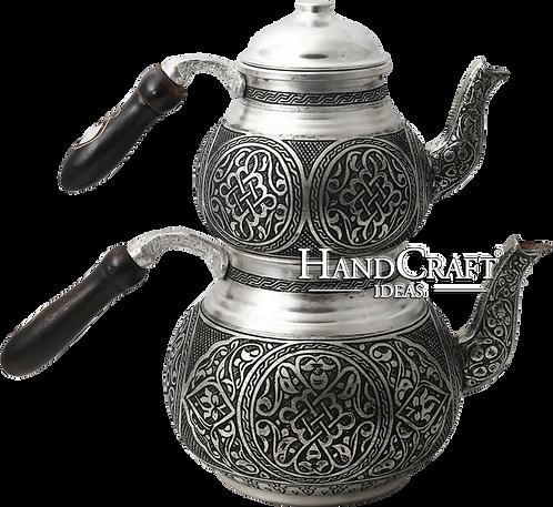 Handmade Engraved Copper Tea Pot Set, Tea Maker, Samovar