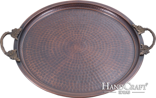 Handmade Copper Serving Tray with Brass Handle - Large / 35cm