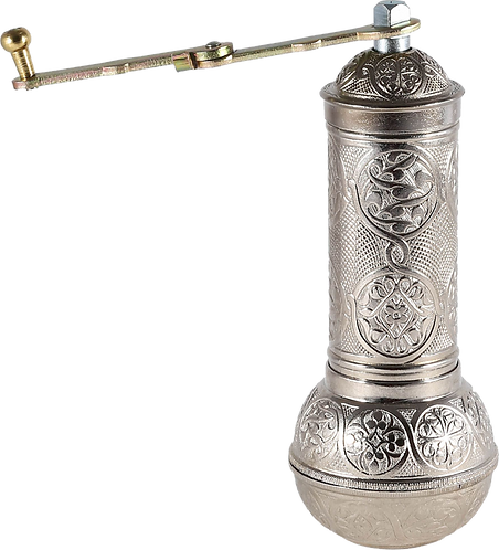 Traditional Brass Coffee/Spice Grinder, Mill - Silver