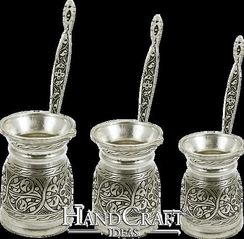 Engraved Copper Coffee Pot Set - Small-150ml / Medium-250ml / Large- 350ml
