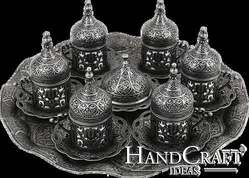 Traditional Design Cast Zamak Turkish Coffee Set for Six- Dark Grey