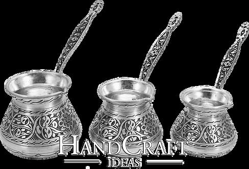 Engraved Copper Coffee Pot Set - Small-250ml / Medium-350ml / Large- 500ml