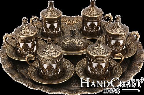 Traditional Design Cast Zamak Turkish Coffee Set for Six -Antique Gold