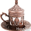 Thumbnail: Traditional Design Cast Zamak Turkish Coffee Set for Six - Bronze