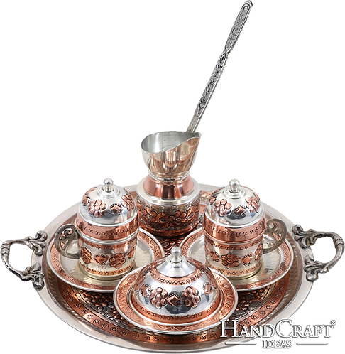 Traditional Design Hand Made Copper Turkish Coffee Set & Espresso Set for Two