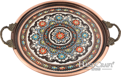Handmade Copper Serving Tray with Brass Handle - Floral / 35cm