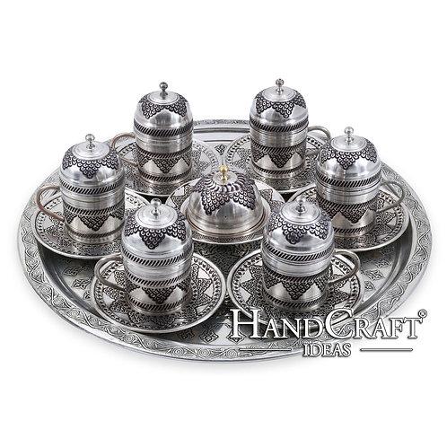 Hand Made Engraved Copper Turkish Coffee Set & Espresso Set & Tea Set for Six