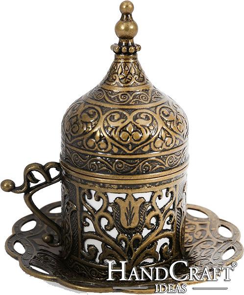 Traditional Design Cast Zamak Turkish Coffee, Espresso Cup with Saucer