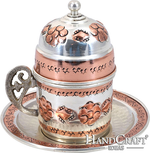 Traditional Design Hand Made Copper Turkish Coffee, Espresso Cup with Saucer