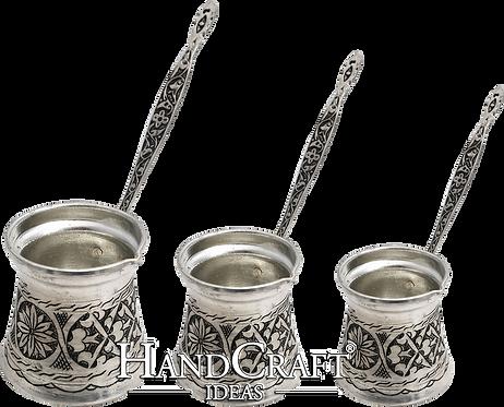 Engraved Copper Coffee Pot Set - Small-150ml / Medium-250ml / Large- 400ml