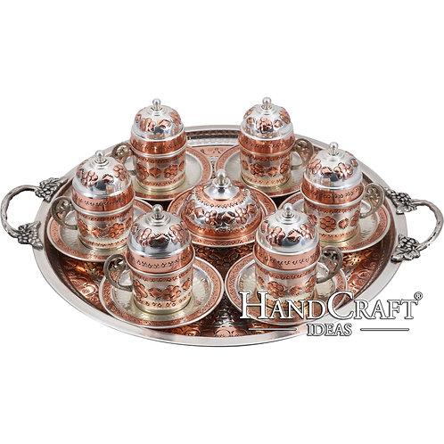 Hand Made Copper Turkish Coffee Set & Espresso Set & Tea Set for Six