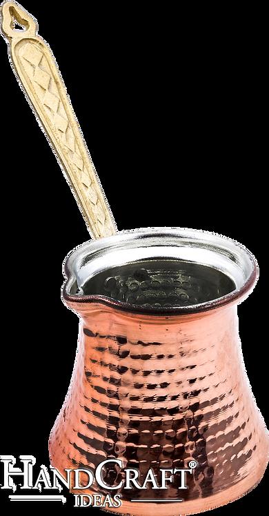 Handmade Copper Turkish Coffee Pot with Brass Handle - 350ml