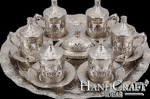 Traditional Design Cast Zamak Turkish Coffee Set for Six - Silver