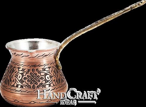 Handmade Copper Turkish Coffee Pot with Brass Handle - Large -18.6oz (550ml)