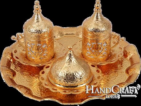 Traditional Design Cast Zamak Turkish Coffee Set ; Espresso Set for Two