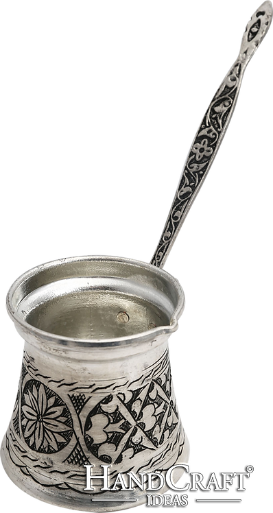 Handmade Copper Turkish Coffee Pot with Brass Handle - Large -13.5oz (400ml)
