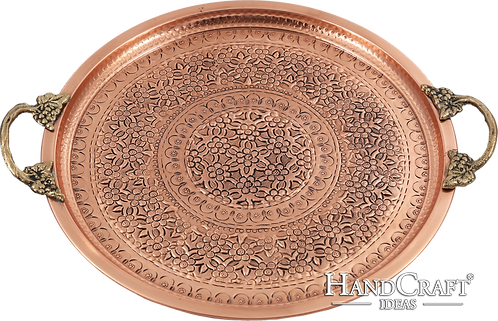Handmade Copper Serving Tray with Brass Handle - Copper / 35cm