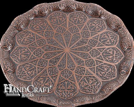 Cast Zamak Serving Tray - Bronze / 35cm