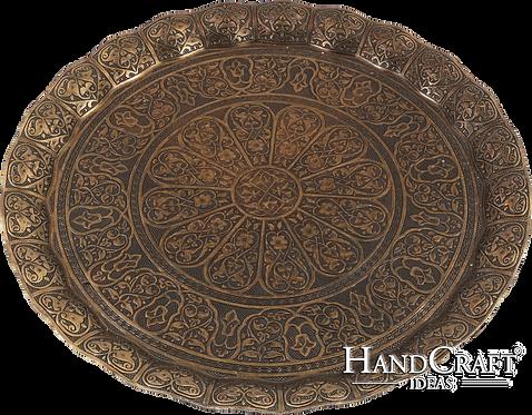 Cast Zamak Serving Tray - Antique Gold / 35cm