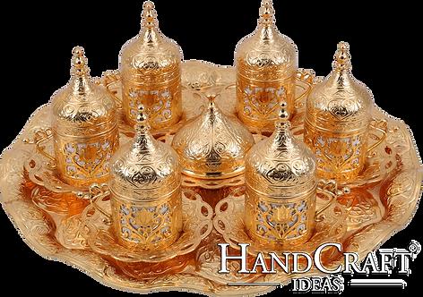 Traditional Design Cast Zamak Turkish Coffee Set for Six - Gold