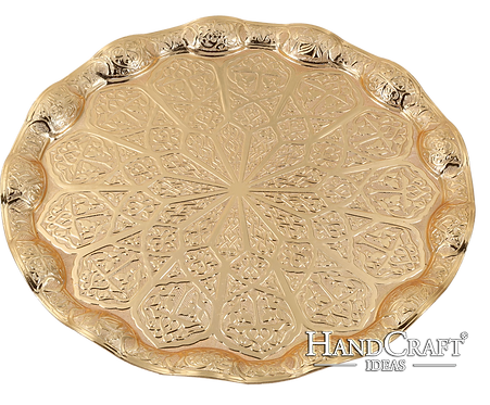 Cast Zamak Serving Tray - Gold / 35cm