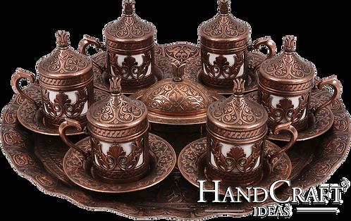 Traditional Design Cast Zamak Turkish Coffee Set for Six - Bronze