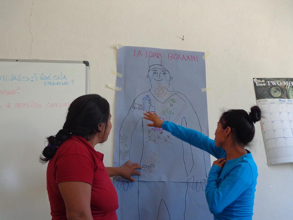 Promotoras educativas explicando la situación es su comunidad