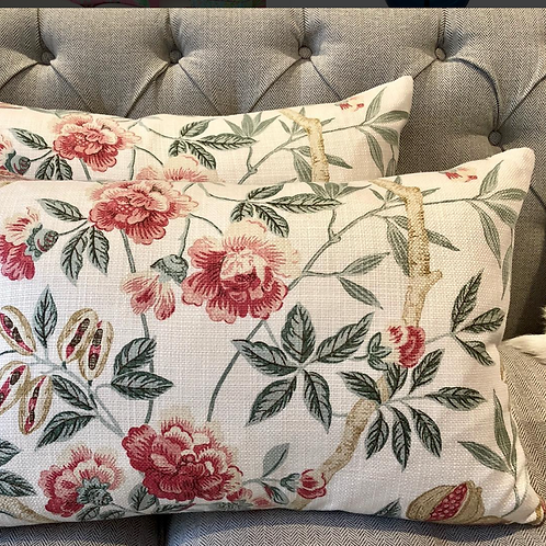 Custom Rouge & Sage Floral Cushions