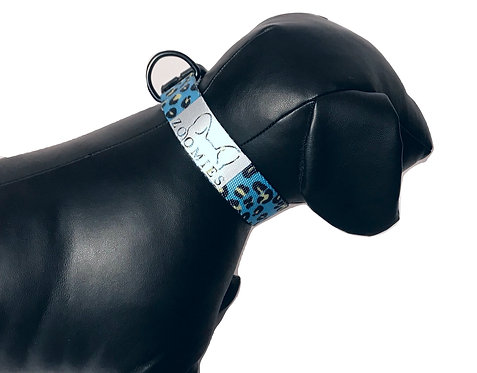 Kleurrijke Halsband panterprint blauw