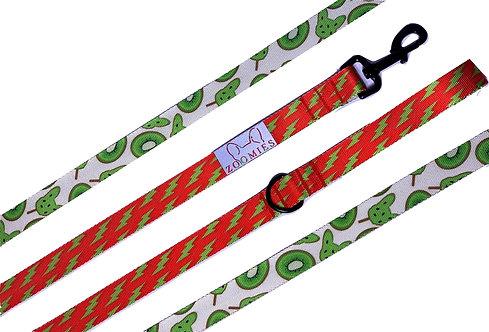 Kleurrijke Hondenriem bliksem-kiwi rood,groen
