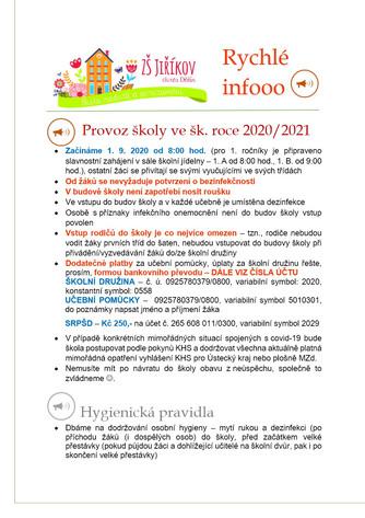 Rychlé informace ohledně hygienických pravidel a COVD–19