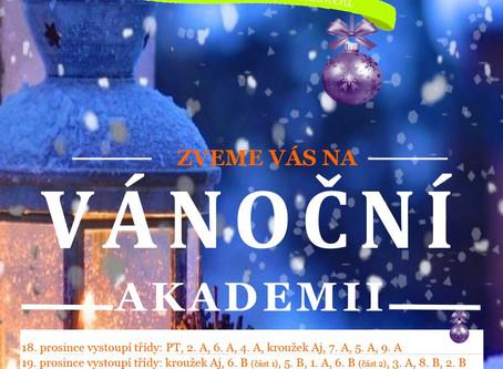 Pozvánka na Vánoční akademii žáků 18. a 19. prosince 2019