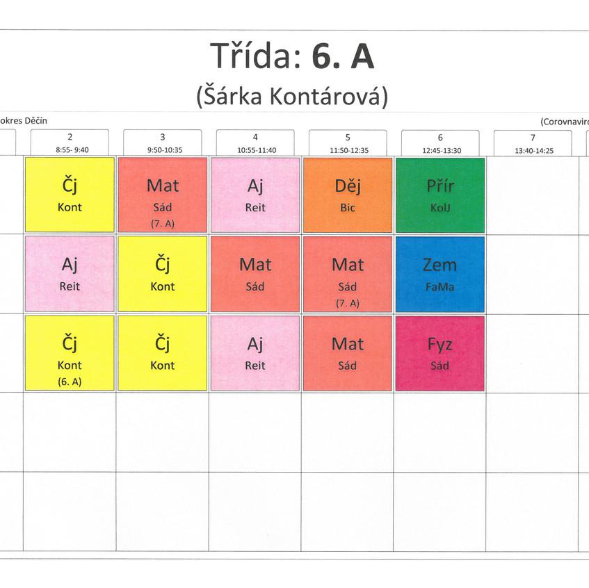 Rozvrh třídy 6. A