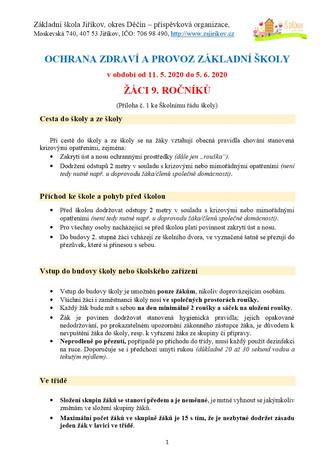 OCHRANA ZDRAVÍ A PROVOZ ZÁKLADNÍ ŠKOLY v období od 11. 5. 2020 do 5. 6. 2020, ŽÁCI 9. ROČNÍKŮ