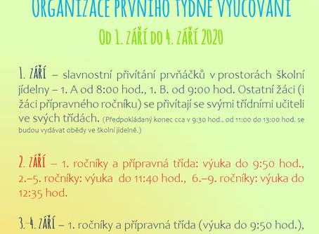 Organizace prvního týdne vyučování