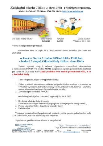 Zápis do prvních tříd – vhoďte Žádost a zápisní list do poštovní schránky školy