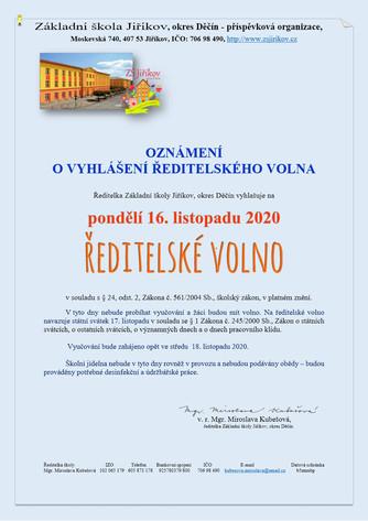Vyhlášení ředitelského volna 16. 11. 2020
