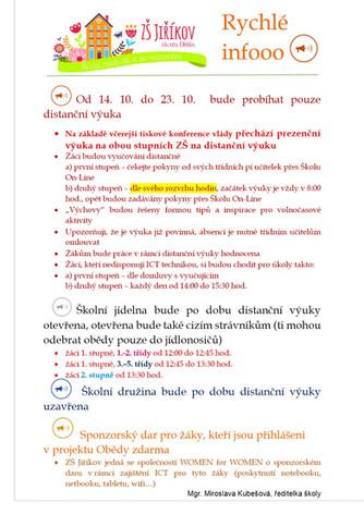 Od 14. 10. do 23. 10. vyučujeme distančně
