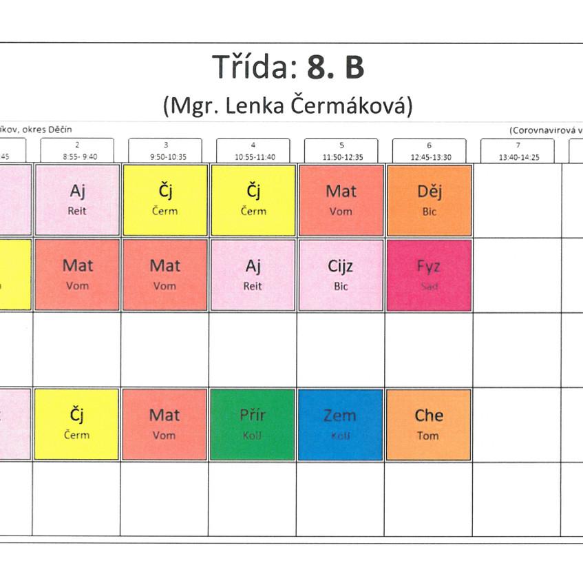 Rozvrh třídy 8. B