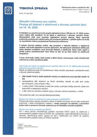 Postup při žádosti o ošetřovné z důvodu uzavření škol od 14. 10. 2020