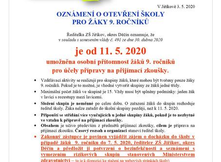 Otevření školy pro žáky 9. ročníků od 11. 5. 2020