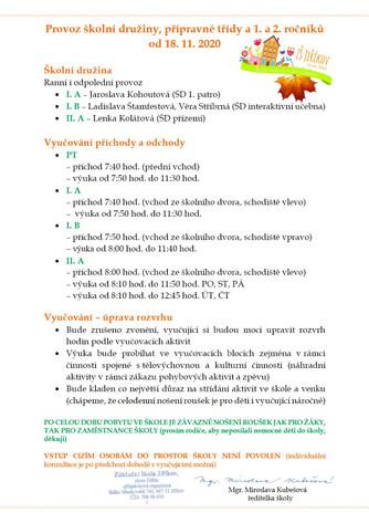 Provoz školy (ŠD, PT, 1. a 2. tříd) od 18. 11. 2020