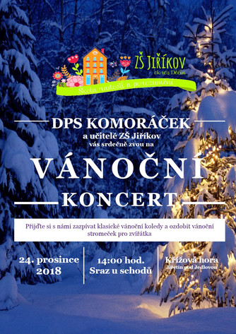 Pozvánka na koncert DPS Komoráček a učitelů na Štědrý den na Křížové hoře