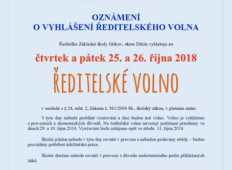 Oznámení o vyhlášení ředitelského volna ve dnech 25. a 26. října 2018